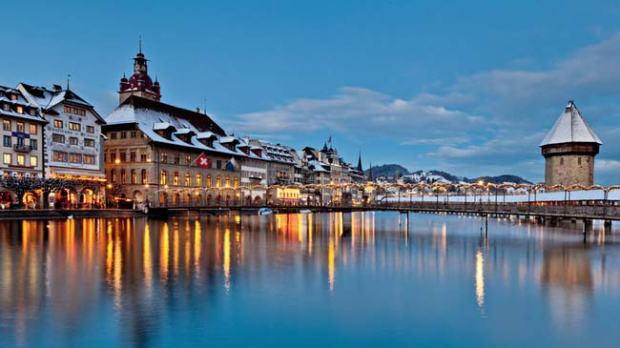 Luzern, Winterpanorama.