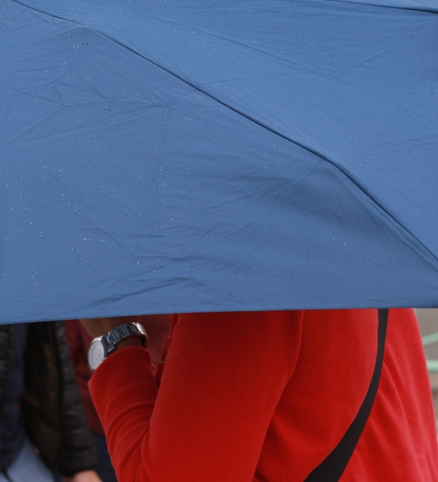 Blue umbrella and red jumper contrasting colours