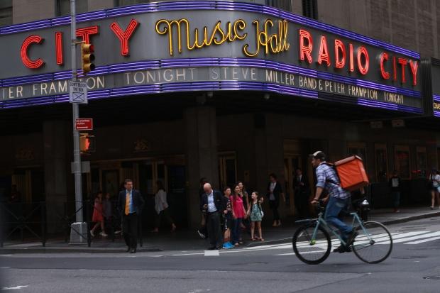 Outside Radio City Music Hall, New York