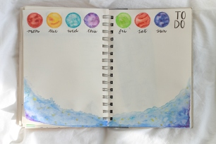 watercolour planets bullet journal weekly spread