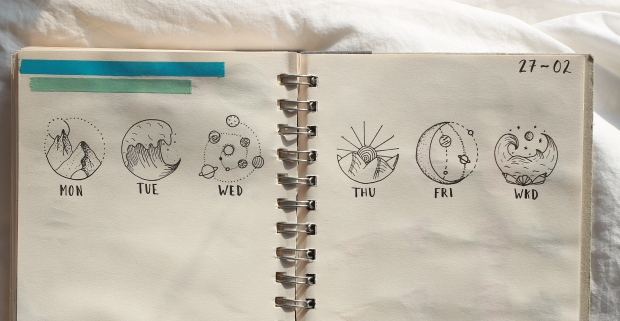mountains, sea and space drawings bullet journal weekly spread