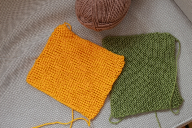 simple knitted squares, neutral tones