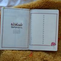 september toadstool bullet journal spread