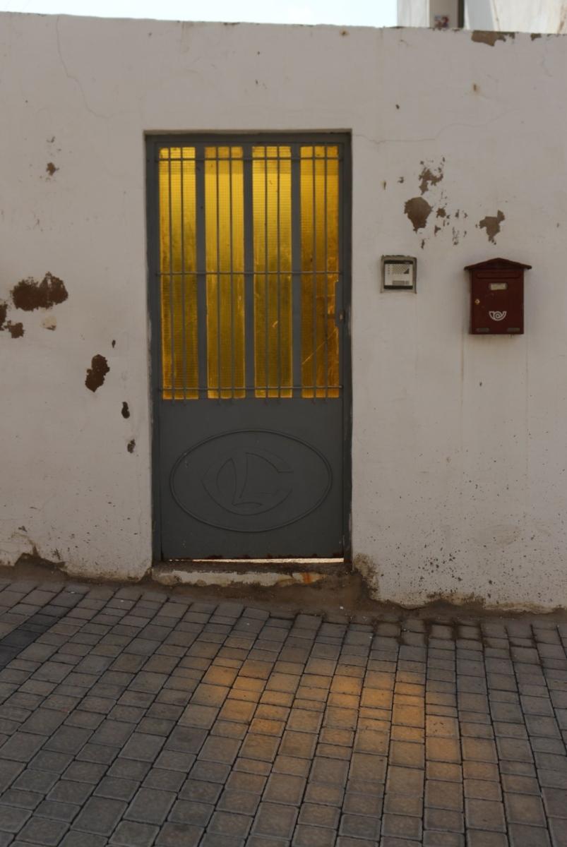 yellow light through door