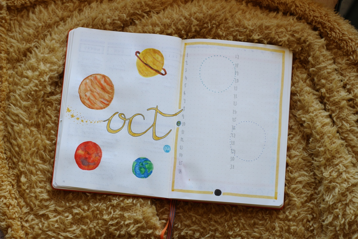 solar system planets bullet journal monthly setup october