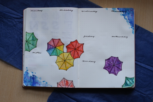 umbrella bullet journal weekly spread with watercolour paints
