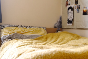 yellow bed in student accommodation