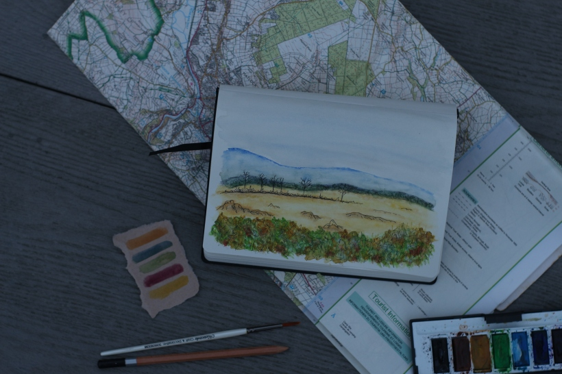 countryside landscape watercolour painting
